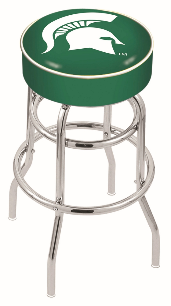 "Michigan State Spartans (L7C1) 25"""" Tall Logo Bar Stool by Holland Bar Stool Company (with Double Ring Swivel Chrome Base)"" HBS-HBS25L7C1-MICHIGANSTATEUNIVERSITY"
