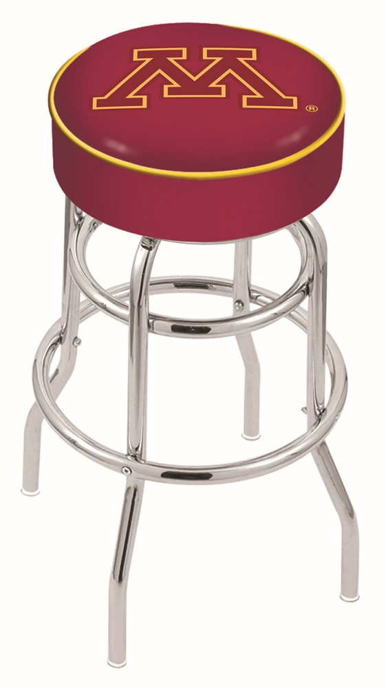 "Minnesota Golden Gophers (L7C1) 25"""" Tall Logo Bar Stool by Holland Bar Stool Company (with Double Ring Swivel Chrome Base)"" HBS-HBS25L7C1-UNIVERSITYOFMINNESOTA"