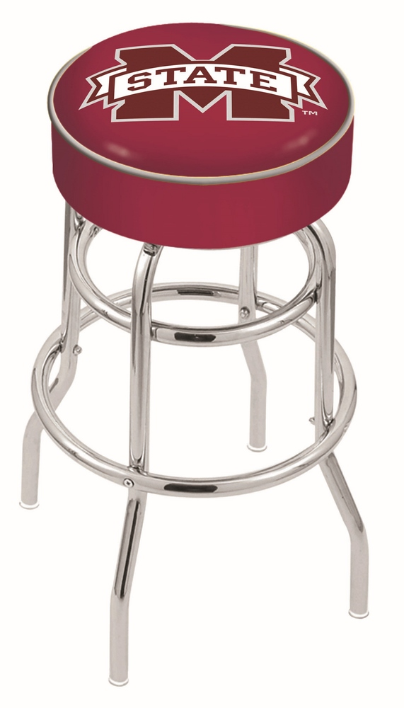 "Mississippi State Bulldogs (L7C1) 25"""" Tall Logo Bar Stool by Holland Bar Stool Company (with Double Ring Swivel Chrome Base)"" HBS-HBS25L7C1-MISSISSIPPISTATEUNIVERSITY"