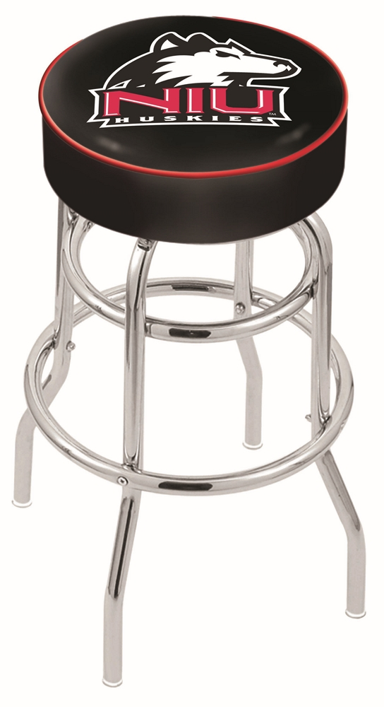 "Northern Illinois Huskies (L7C1) 25"""" Tall Logo Bar Stool by Holland Bar Stool Company (with Double Ring Swivel Chrome Base)"" HBS-HBS25L7C1-NORTHERNILLINOISUNIVERSITY"