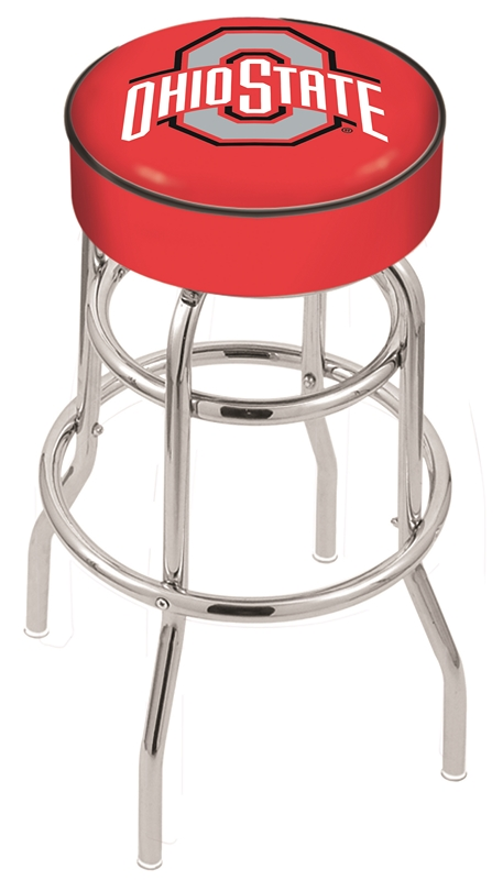"""Ohio State Buckeyes (L7C1) 25"""""""" Tall Logo Bar Stool by Holland Bar Stool Company (with Double Ring Swivel Chrome Base)"""" HBS-HBS25L7C1-THEOHIOSTATEUNIVERSITY"""