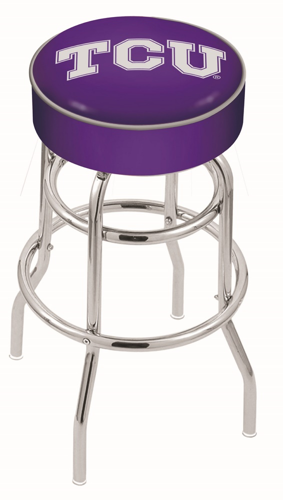 "Texas Christian Horned Frogs (L7C1) 25"""" Tall Logo Bar Stool by Holland Bar Stool Company (with Double Ring Swivel Chrome Base)"" HBS-HBS25L7C1-TEXASCHRISTIANUNIVERSITY"