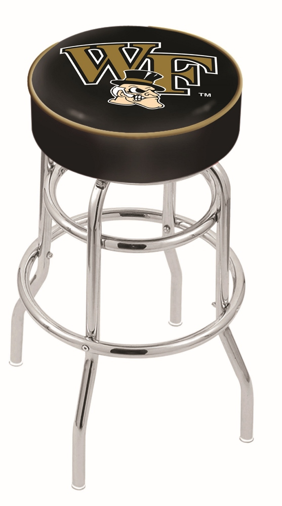 "Wake Forest Demon Deacons (L7C1) 25"""" Tall Logo Bar Stool by Holland Bar Stool Company (with Double Ring Swivel Chrome Base)"" HBS-HBS25L7C1-WAKEFORESTUNIVERSITY"