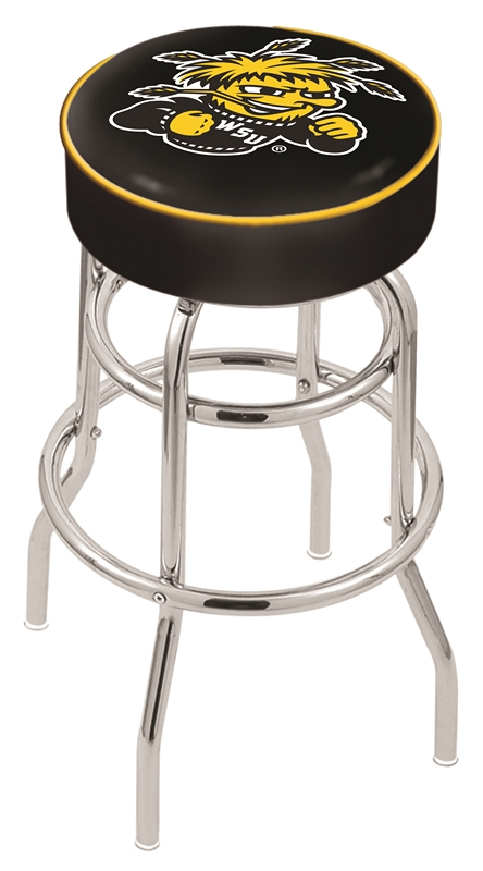 "Wichita State Shockers (L7C1) 25"""" Tall Logo Bar Stool by Holland Bar Stool Company (with Double Ring Swivel Chrome Base)"" HBS-HBS25L7C1-WICHITASTATEUNIVERSITY"