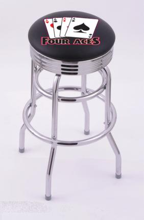 "4 Aces (L7C3C) 25"" Tall Logo Bar Stool by Holland Bar Stool Company (with Double Ring Swivel Chrome Base)"