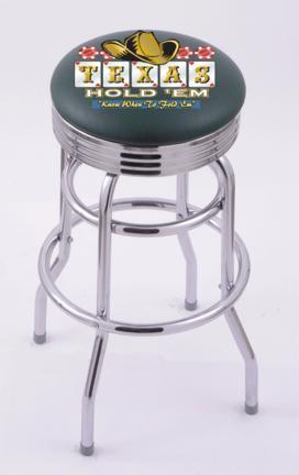 "Texas Hold Em (L7C3C) 30"" Tall Logo Bar Stool by Holland Bar Stool Company (with Double Ring Swivel Chrome Base)"