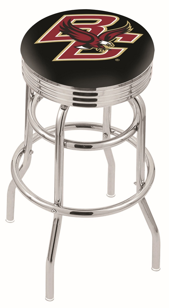 """Boston College Eagles (L7C3C) 25"""" Tall Logo Bar Stool by Holland Bar Stool Company (with Double Ring Swivel Chrome"""
