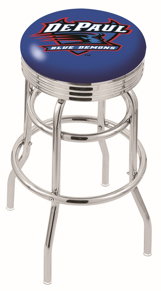 "DePaul Blue Demons (L7C3C) 25"""" Tall Logo Bar Stool by Holland Bar Stool Company (with Double Ring Swivel Chrome Base)"" HBS-HBS25L7C3C-DEPAULUNIVERSITY"