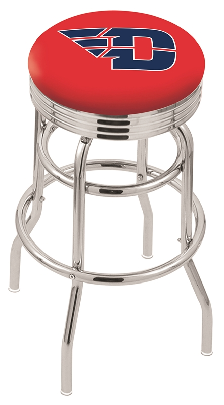 "Dayton Flyers (L7C3C) 25"""" Tall Logo Bar Stool by Holland Bar Stool Company (with Double Ring Swivel Chrome Base)"" HBS-HBS25L7C3C-UNIVERSITYOFDAYTON"