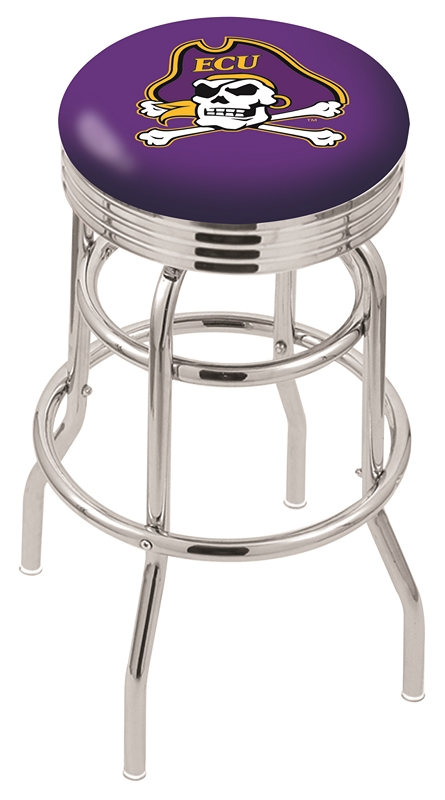"East Carolina Pirates (L7C3C) 25"""" Tall Logo Bar Stool by Holland Bar Stool Company (with Double Ring Swivel Chrome Base)"" HBS-HBS25L7C3C-EASTCAROLINAUNIVERSITY"