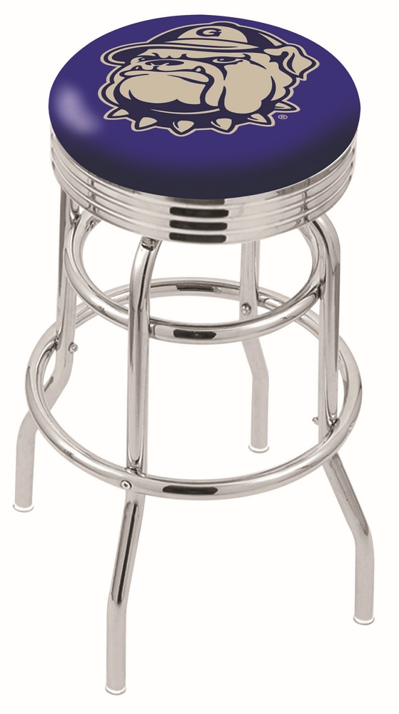 "Georgetown Hoyas (L7C3C) 25"""" Tall Logo Bar Stool by Holland Bar Stool Company (with Double Ring Swivel Chrome Base)"" HBS-HBS25L7C3C-GEORGETOWNUNIVERSITY"