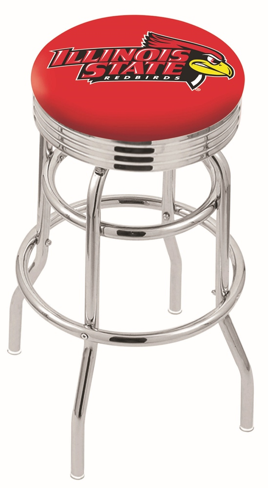 "Illinois State Redbirds (L7C3C) 25"""" Tall Logo Bar Stool by Holland Bar Stool Company (with Double Ring Swivel Chrome Base)"" HBS-HBS25L7C3C-ILLINOISSTATEUNIVERSITY"