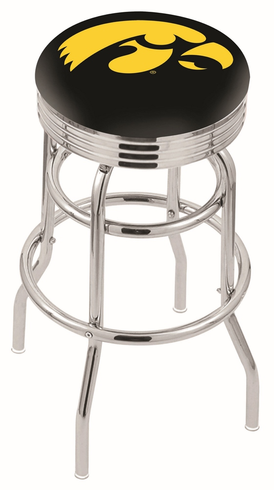 "Iowa Hawkeyes (L7C3C) 25"""" Tall Logo Bar Stool by Holland Bar Stool Company (with Double Ring Swivel Chrome Base)"" HBS-HBS25L7C3C-UNIVERSITYOFIOWA"