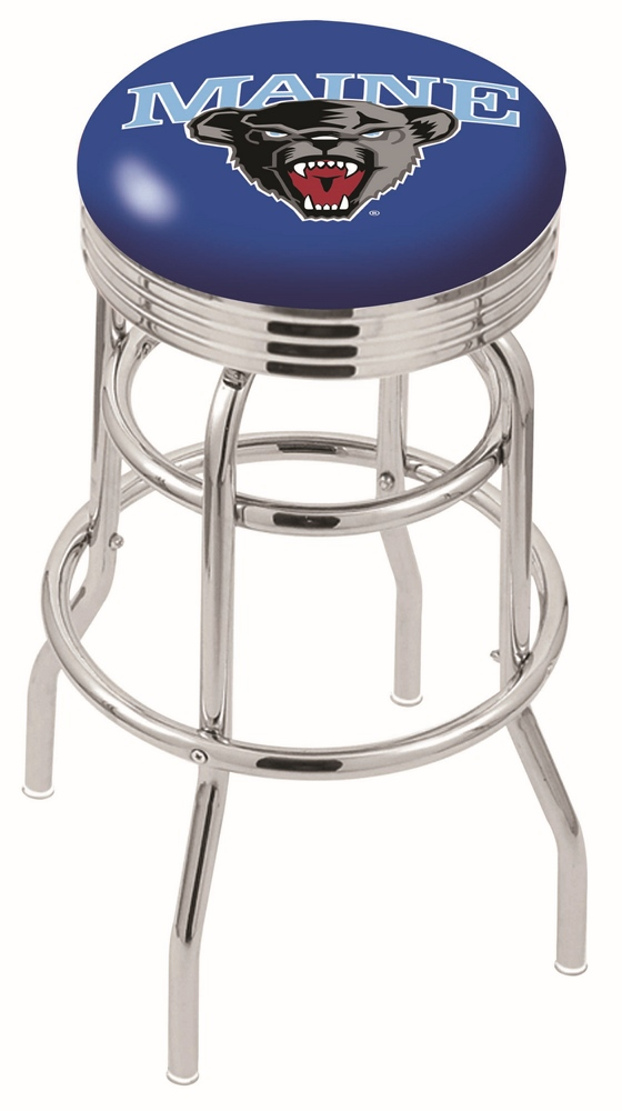 """Maine Black Bears (L7C3C) 25"""""""" Tall Logo Bar Stool by Holland Bar Stool Company (with Double Ring Swivel Chrome Base)"""" HBS-HBS25L7C3C-UNIVERSITYOFMAINE"""