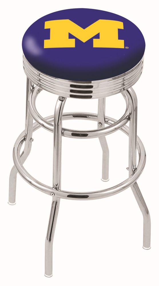 "Michigan Wolverines (L7C3C) 25"""" Tall Logo Bar Stool by Holland Bar Stool Company (with Double Ring Swivel Chrome Base)"" HBS-HBS25L7C3C-UNIVERSITYOFMICHIGAN"