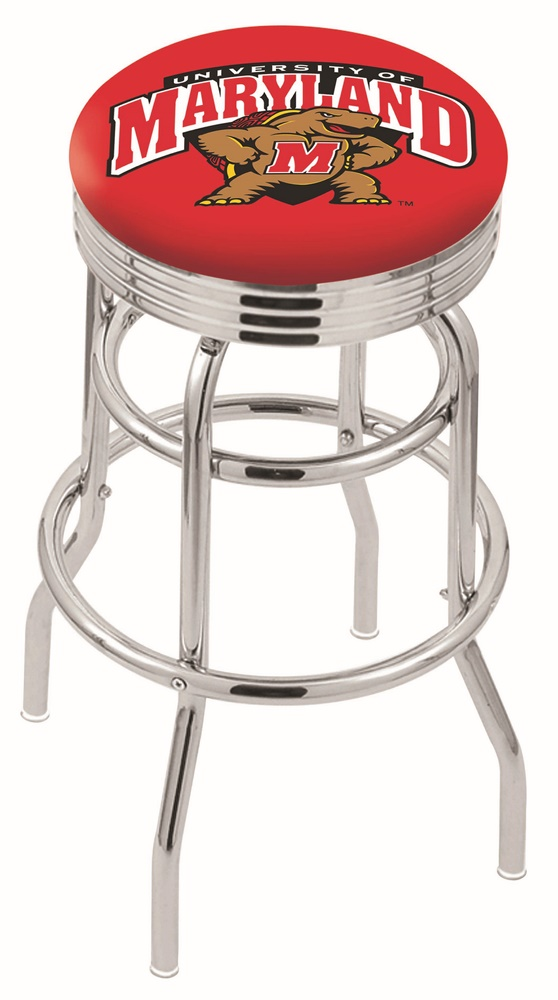 "Maryland Terrapins (L7C3C) 25"""" Tall Logo Bar Stool by Holland Bar Stool Company (with Double Ring Swivel Chrome Base)"" HBS-HBS25L7C3C-UNIVERSITYOFMARYLAND"