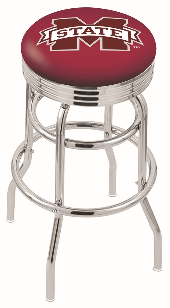"Mississippi State Bulldogs (L7C3C) 25"""" Tall Logo Bar Stool by Holland Bar Stool Company (with Double Ring Swivel Chrome Base)"" HBS-HBS25L7C3C-MISSISSIPPISTATEUNIVERSITY"
