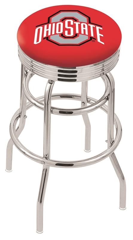 """Ohio State Buckeyes (L7C3C) 25"""""""" Tall Logo Bar Stool by Holland Bar Stool Company (with Double Ring Swivel Chrome Base)"""" HBS-HBS25L7C3C-THEOHIOSTATEUNIVERSITY"""