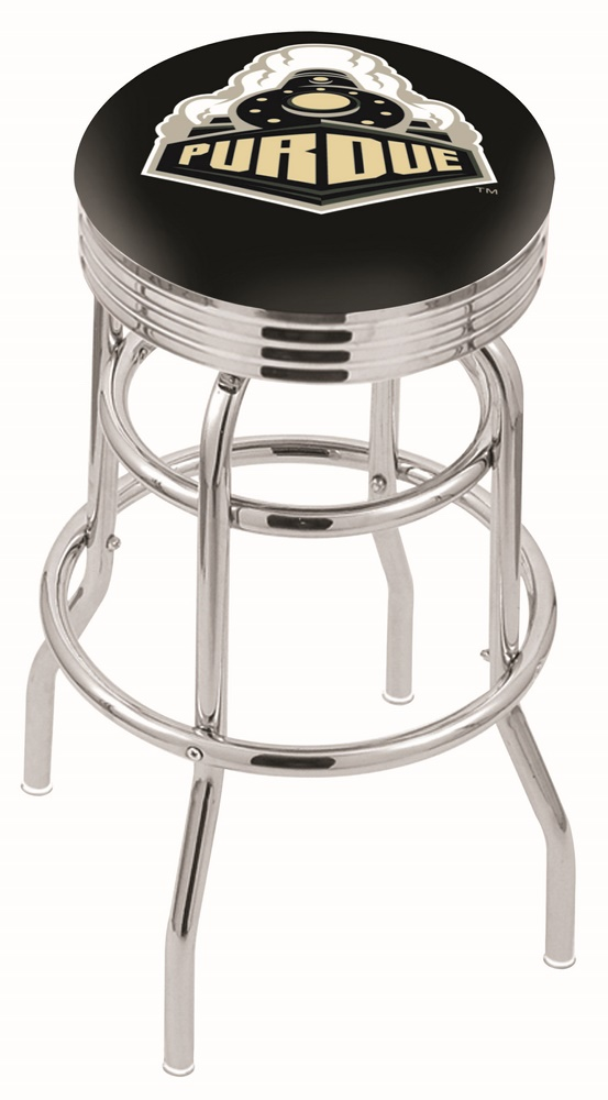 "Purdue Boilermakers (L7C3C) 25"""" Tall Logo Bar Stool by Holland Bar Stool Company (with Double Ring Swivel Chrome Base)"" HBS-HBS25L7C3C-PURDUEUNIVERSITY"