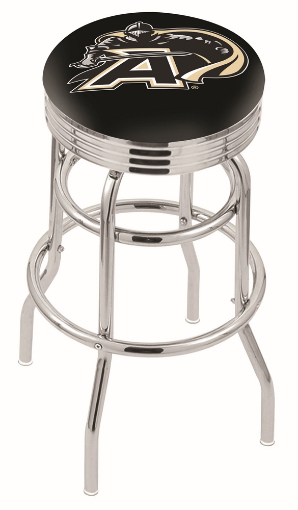 "Army Black Knights (L7C3C) 25"""" Tall Logo Bar Stool by Holland Bar Stool Company (with Double Ring Swivel Chrome Base)"" HBS-HBS25L7C3C-UNITEDSTATESMILITARYACADEMY"
