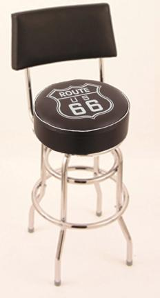 """Route 66 (L7C4) 30"""" Tall Logo Bar Stool by Holland Bar Stool Company (with Double Ring Swivel Chrome Base and Chair"""