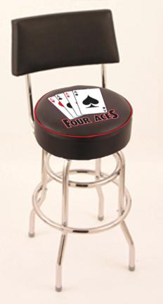 """4 Aces (L7C4) 30"""" Tall Logo Bar Stool by Holland Bar Stool Company (with Double Ring Swivel Chrome Base and Chair S"""