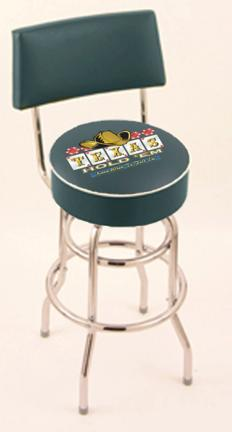 """Texas Hold Em (L7C4) 30"""" Tall Logo Bar Stool by Holland Bar Stool Company (with Double Ring Swivel Chrome Base and"""