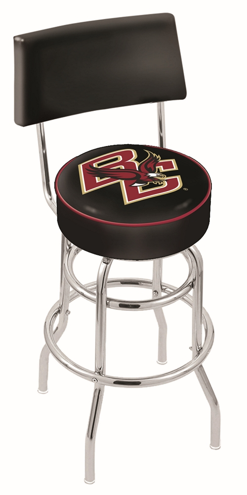 """Boston College Eagles (L7C4) 25"""""""" Tall Logo Bar Stool by Holland Bar Stool Company (with Double Ring Swivel Chrome Base and Chair Seat Back)"""" HBS-HBS25L7C4-BOSTONCOLLEGE"""