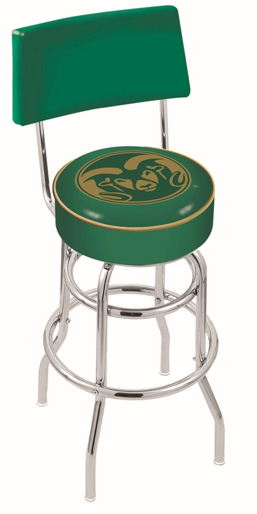 "Colorado State Rams (L7C4) 25"""" Tall Logo Bar Stool by Holland Bar Stool Company (with Double Ring Swivel Chrome Base and Chair Seat Back)"" HBS-HBS25L7C4-COLORADOSTATEUNIVERSITY"