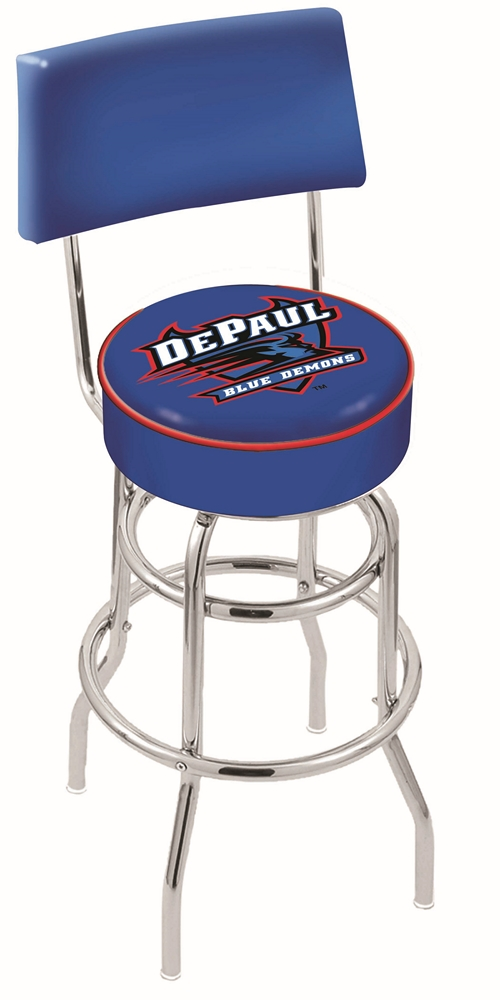 "DePaul Blue Demons (L7C4) 25"""" Tall Logo Bar Stool by Holland Bar Stool Company (with Double Ring Swivel Chrome Base and Chair Seat Back)"" HBS-HBS25L7C4-DEPAULUNIVERSITY"