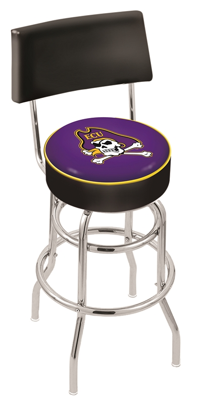 """East Carolina Pirates (L7C4) 25"""""""" Tall Logo Bar Stool by Holland Bar Stool Company (with Double Ring Swivel Chrome Base and Chair Seat Back)"""" HBS-HBS25L7C4-EASTCAROLINAUNIVERSITY"""