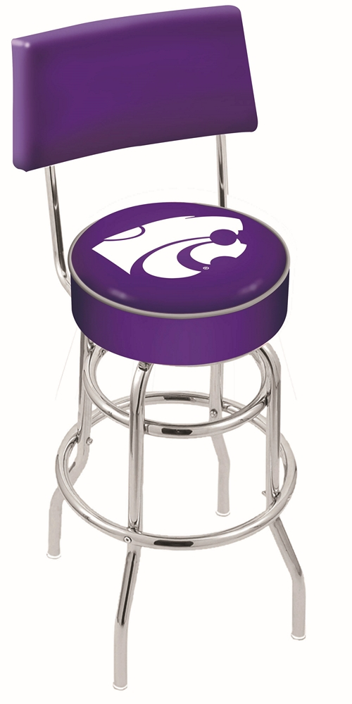 "Kansas State Wildcats (L7C4) 25"""" Tall Logo Bar Stool by Holland Bar Stool Company (with Double Ring Swivel Chrome Base and Chair Seat Back)"" HBS-HBS25L7C4-KANSASSTATEUNIVERSITY"