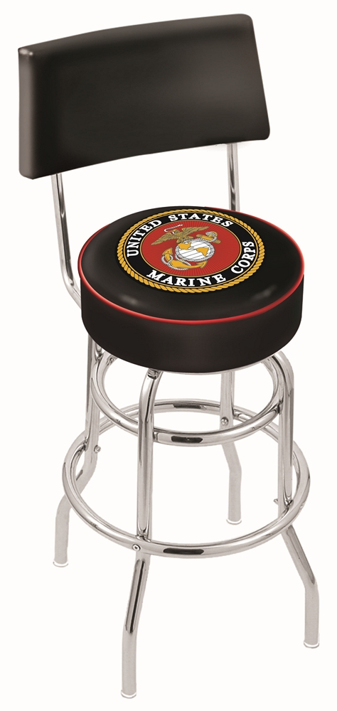 "US Marines (L7C4) 30"" Tall Logo Bar Stool by Holland Bar Stool Company (with Double Ring Swivel Chrome Base and Chair Seat Back)"