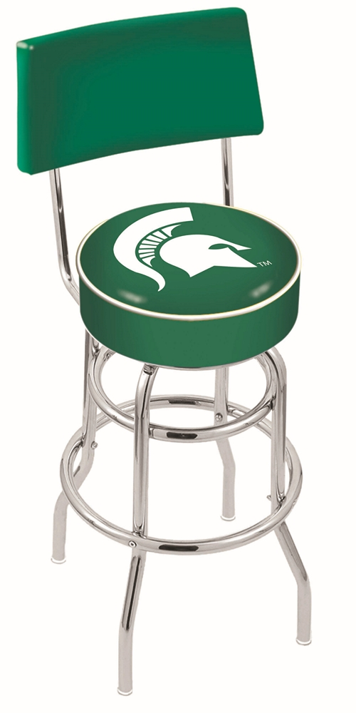 "Michigan State Spartans (L7C4) 25"""" Tall Logo Bar Stool by Holland Bar Stool Company (with Double Ring Swivel Chrome Base and Chair Seat Back)"" HBS-HBS25L7C4-MICHIGANSTATEUNIVERSITY"
