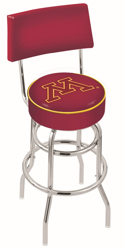 "Minnesota Golden Gophers (L7C4) 25"""" Tall Logo Bar Stool by Holland Bar Stool Company (with Double Ring Swivel Chrome Base and Chair Seat Back)"" HBS-HBS25L7C4-UNIVERSITYOFMINNESOTA"