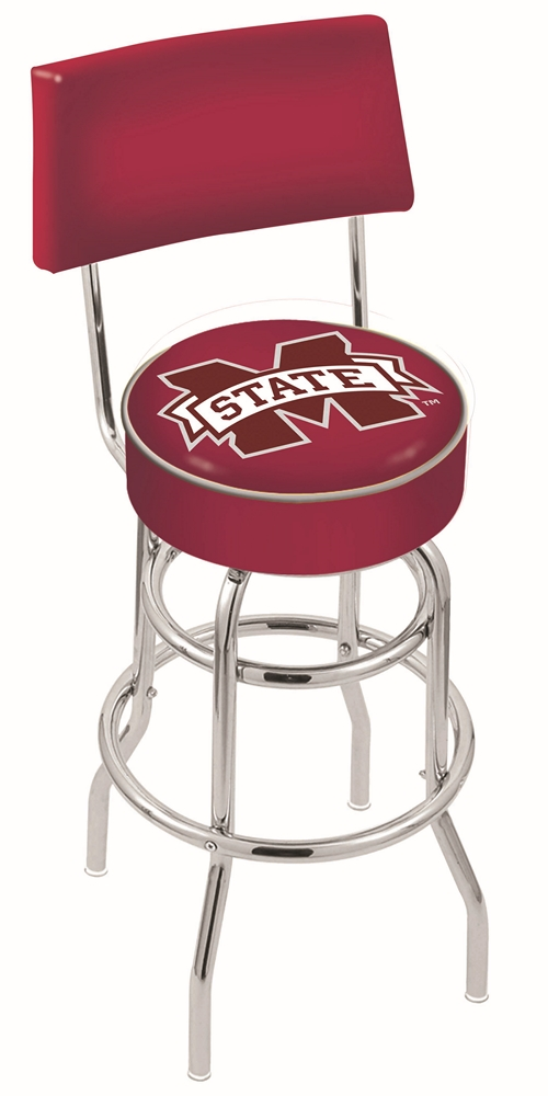 "Mississippi State Bulldogs (L7C4) 25"""" Tall Logo Bar Stool by Holland Bar Stool Company (with Double Ring Swivel Chrome Base and Chair Seat Back)"" HBS-HBS25L7C4-MISSISSIPPISTATEUNIVERSITY"