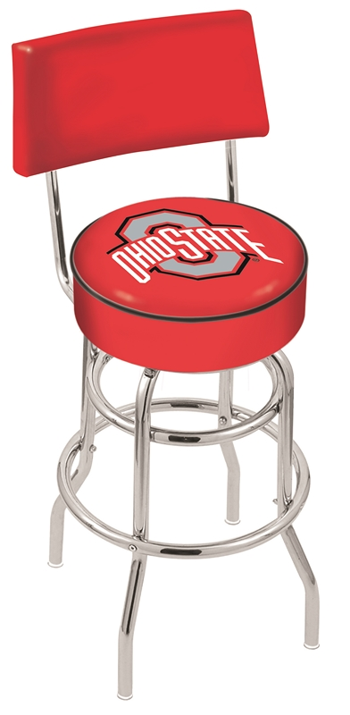 "Ohio State Buckeyes (L7C4) 25"""" Tall Logo Bar Stool by Holland Bar Stool Company (with Double Ring Swivel Chrome Base and Chair Seat Back)"" HBS-HBS25L7C4-THEOHIOSTATEUNIVERSITY"