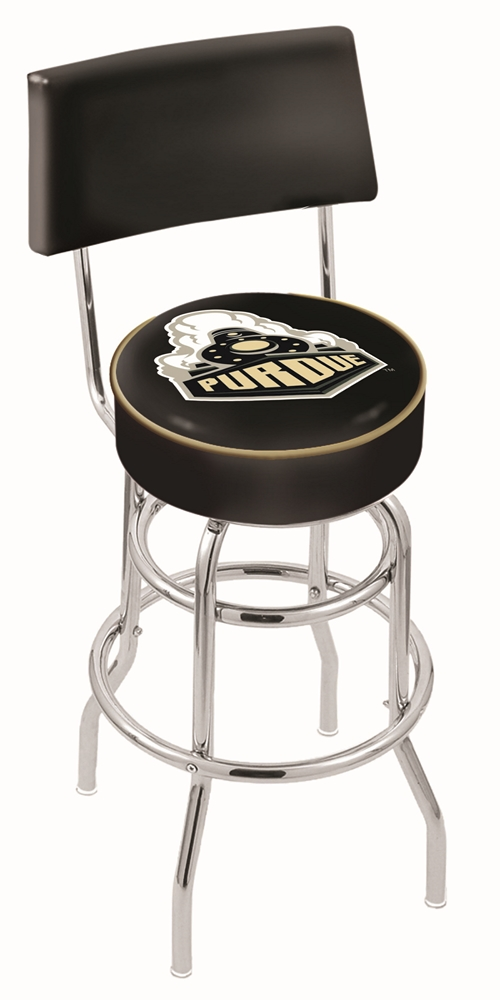 """Purdue Boilermakers (L7C4) 25"""" Tall Logo Bar Stool by Holland Bar Stool Company (with Double Ring Swivel Chrome Bas"""