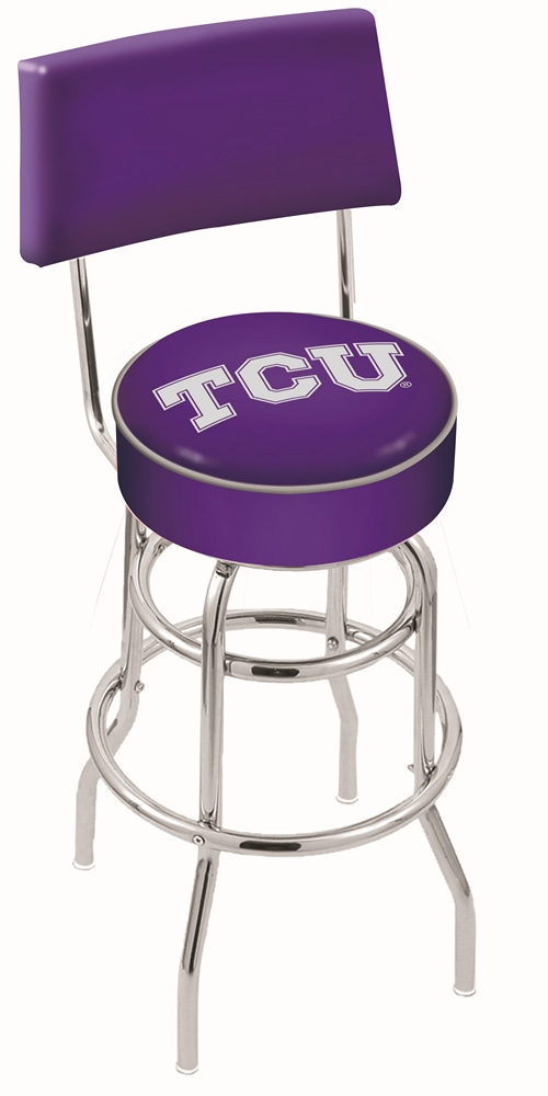"Texas Christian Horned Frogs (L7C4) 25"""" Tall Logo Bar Stool by Holland Bar Stool Company (with Double Ring Swivel Chrome Base and Chair Seat Back)"" HBS-HBS25L7C4-TEXASCHRISTIANUNIVERSITY"