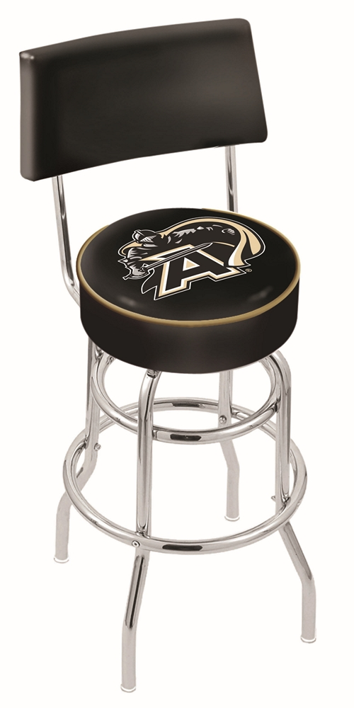 "Army Black Knights (L7C4) 25"""" Tall Logo Bar Stool by Holland Bar Stool Company (with Double Ring Swivel Chrome Base and Chair Seat Back)"" HBS-HBS25L7C4-UNITEDSTATESMILITARYACADEMY"