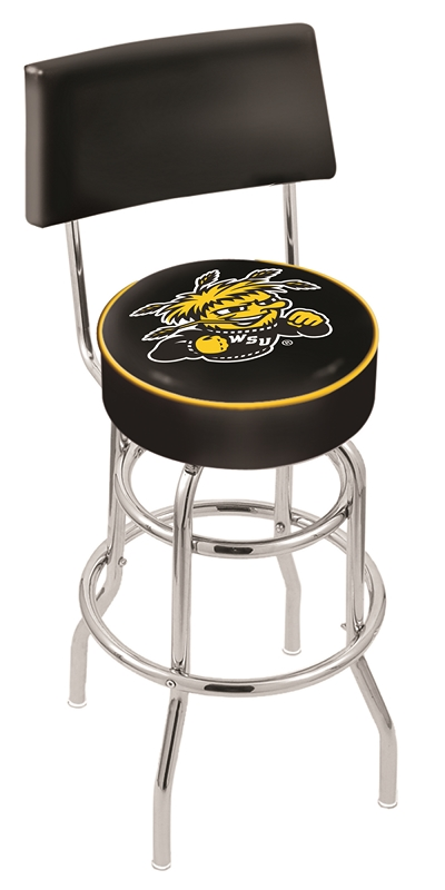 "Wichita State Shockers (L7C4) 25"""" Tall Logo Bar Stool by Holland Bar Stool Company (with Double Ring Swivel Chrome Base and Chair Seat Back)"" HBS-HBS25L7C4-WICHITASTATEUNIVERSITY"