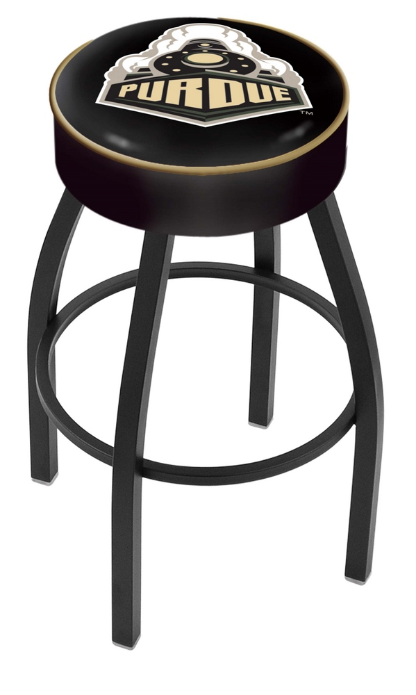 """Purdue Boilermakers (L8B1) 25"""" Tall Logo Bar Stool by Holland Bar Stool Company (with Single Ring Swivel Black Soli"""