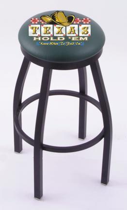 "Texas Hold Em (L8B2B) 25"" Tall Logo Bar Stool by Holland Bar Stool Company (with Single Ring Swivel Black Solid Wel"