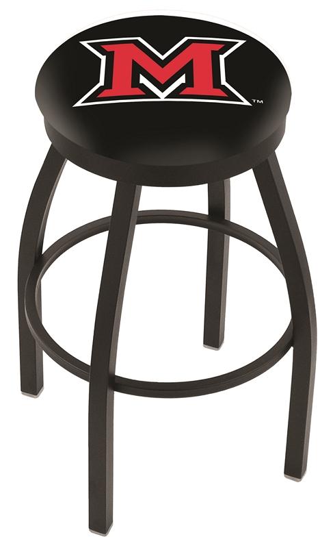 "Miami (Ohio) RedHawks (L8B2B) 25"" Tall Logo Bar Stool by Holland Bar Stool Company (with Single Ring Swivel Black S"