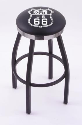 """Route 66 (L8B2C) 25"""" Tall Logo Bar Stool by Holland Bar Stool Company (with Single Ring Swivel Black Solid Welded B"""