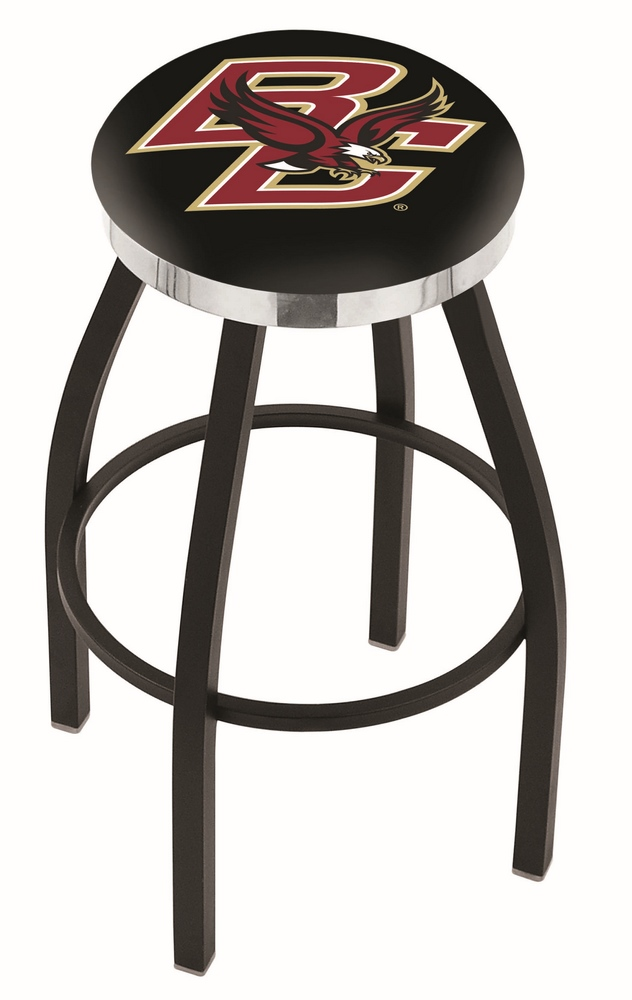 """Boston College Eagles (L8B2C) 25"""""""" Tall Logo Bar Stool by Holland Bar Stool Company (with Single Ring Swivel Black Solid Welded Base)"""" HBS-HBS25L8B2C-BOSTONCOLLEGE"""