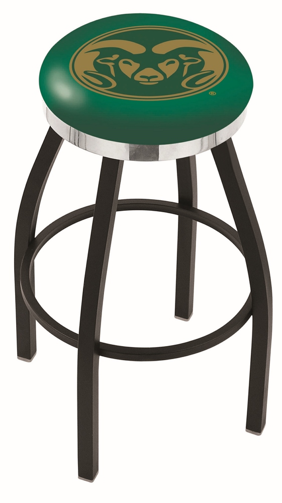"Colorado State Rams (L8B2C) 25"""" Tall Logo Bar Stool by Holland Bar Stool Company (with Single Ring Swivel Black Solid Welded Base)"" HBS-HBS25L8B2C-COLORADOSTATEUNIVERSITY"