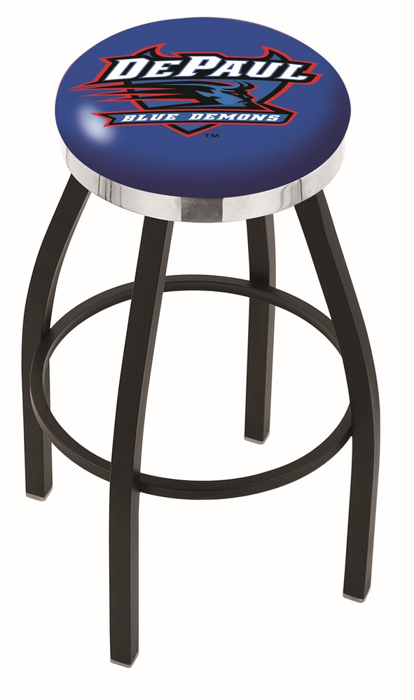 "DePaul Blue Demons (L8B2C) 25"""" Tall Logo Bar Stool by Holland Bar Stool Company (with Single Ring Swivel Black Solid Welded Base)"" HBS-HBS25L8B2C-DEPAULUNIVERSITY"