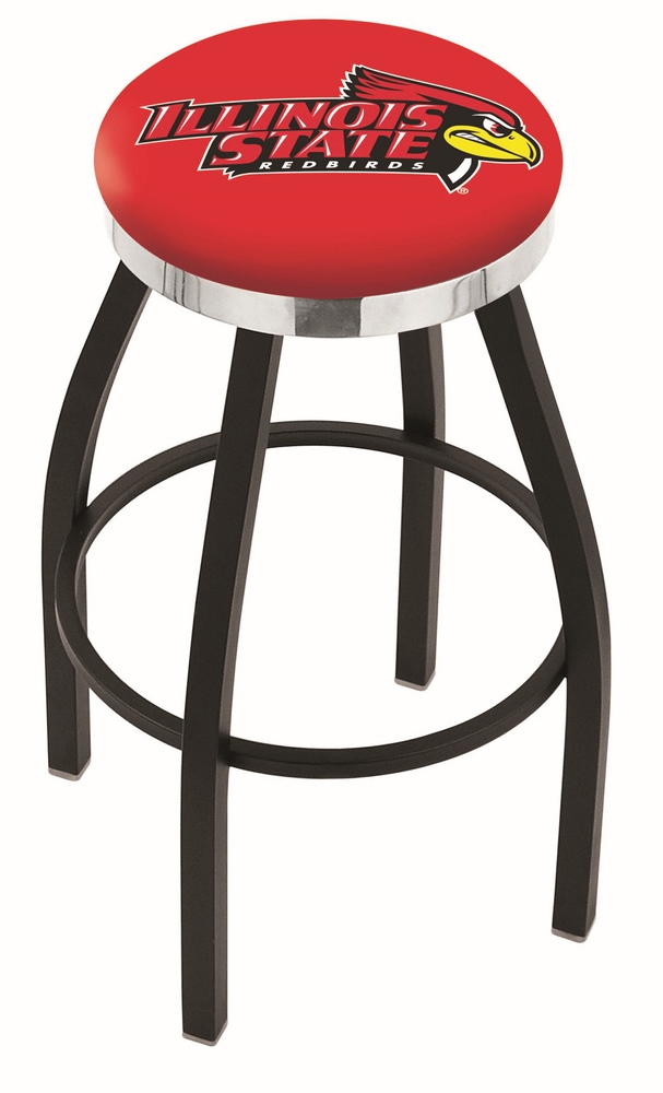 "Illinois State Redbirds (L8B2C) 25"""" Tall Logo Bar Stool by Holland Bar Stool Company (with Single Ring Swivel Black Solid Welded Base)"" HBS-HBS25L8B2C-ILLINOISSTATEUNIVERSITY"