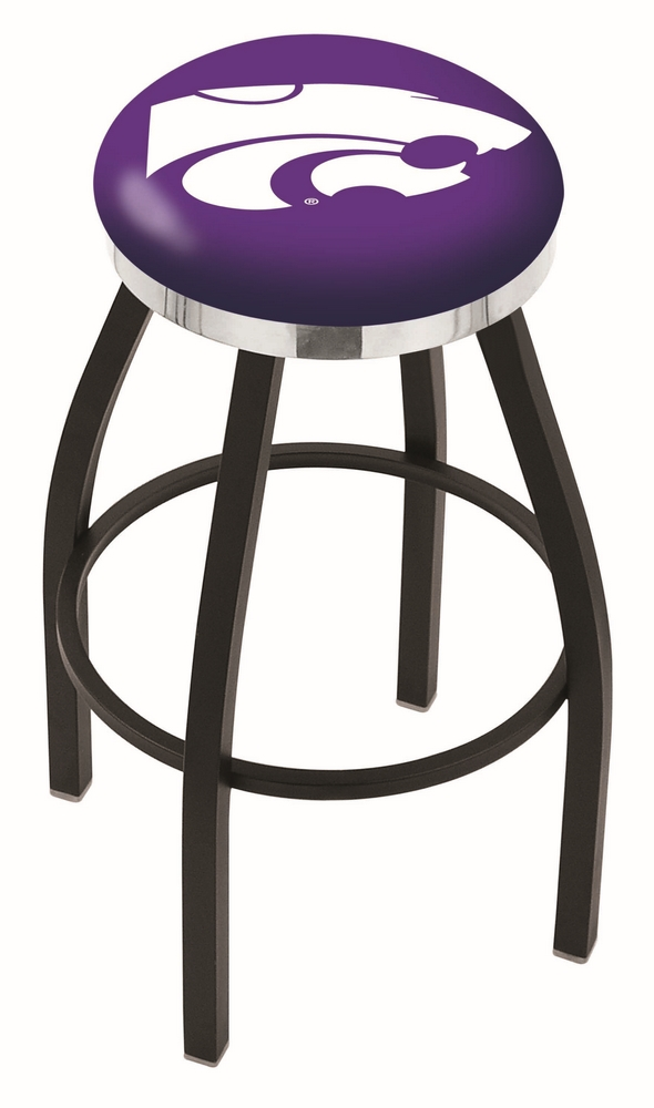 "Kansas State Wildcats (L8B2C) 25"""" Tall Logo Bar Stool by Holland Bar Stool Company (with Single Ring Swivel Black Solid Welded Base)"" HBS-HBS25L8B2C-KANSASSTATEUNIVERSITY"